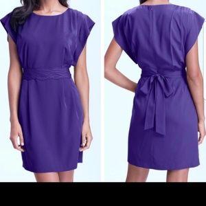 Eliza J size 6 purple cap sleeve sash pocket dress